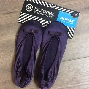NWT Purple Isotoner Ballet Satin Slippers 5-6